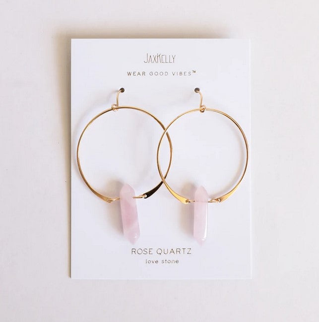 Rose Quartz Gemstone Hoop Earrings