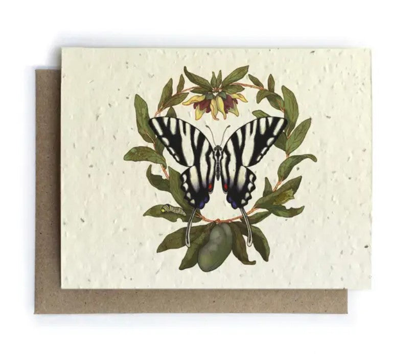The Bower Studio - Zebra Butterfly and Paw Paw Greeting Cards - Plantable Seed Paper