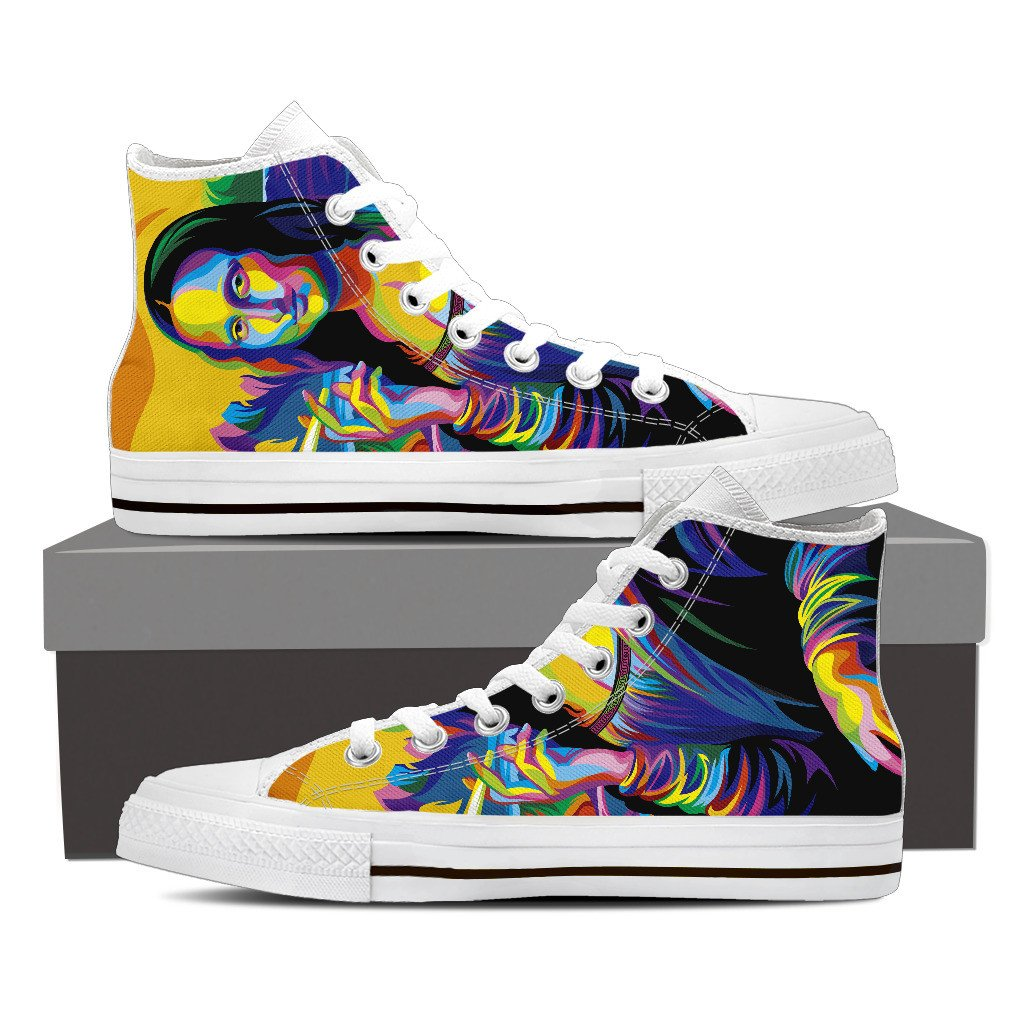 Mona Lisa Marijuana Colorful design Men's High Top Canvas Shoe