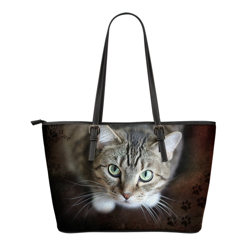 Adorable Cat Small Leather Tote Bag - Gear Stop Shop