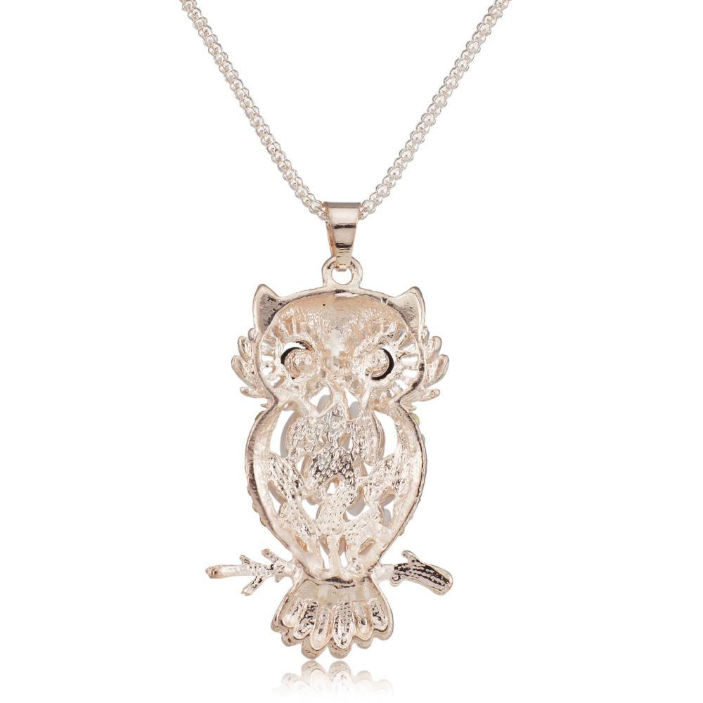 Opal Pearl Crystal Owl Necklace