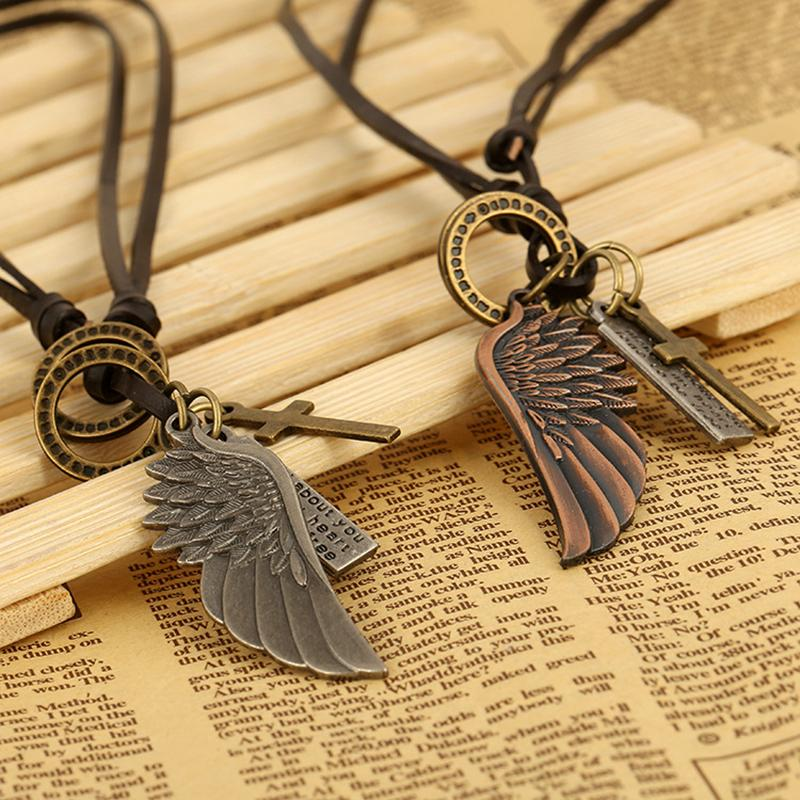 Angel Wing Leather Steam Punk Necklace - Gear Stop Shop