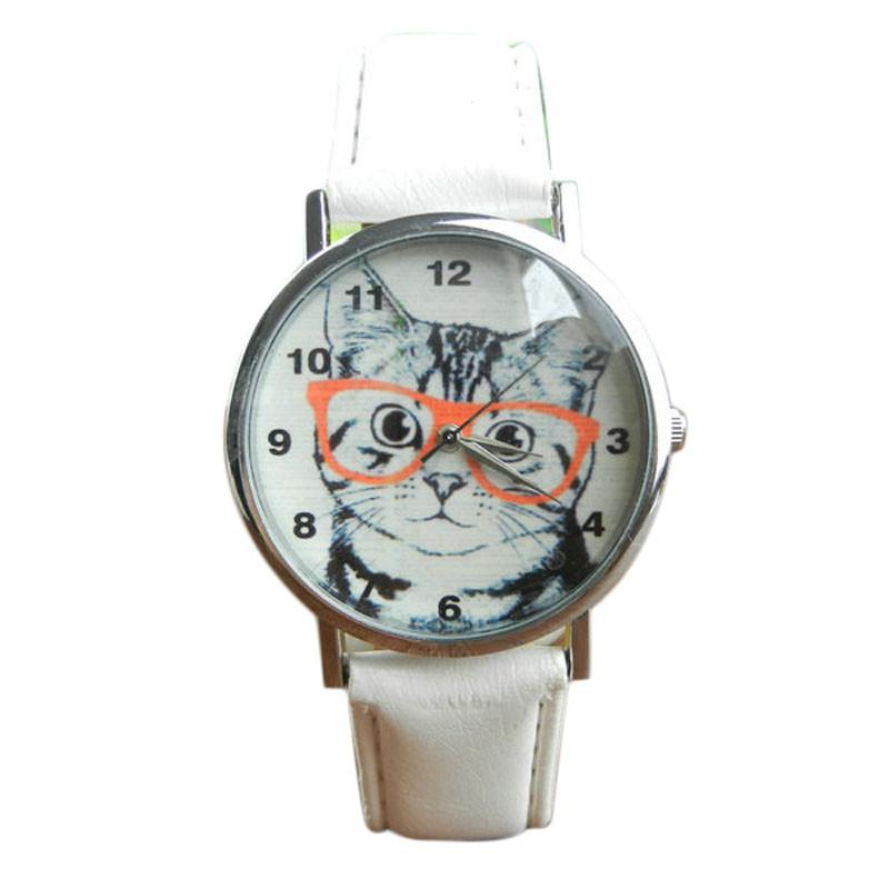 Cute Cat Pattern Womens Leather Watch