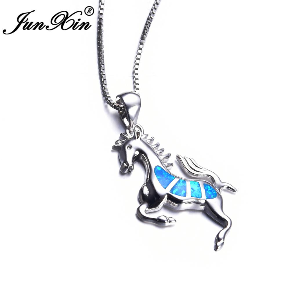 Blue Opal Horse Pendant Necklace - Gear Stop Shop