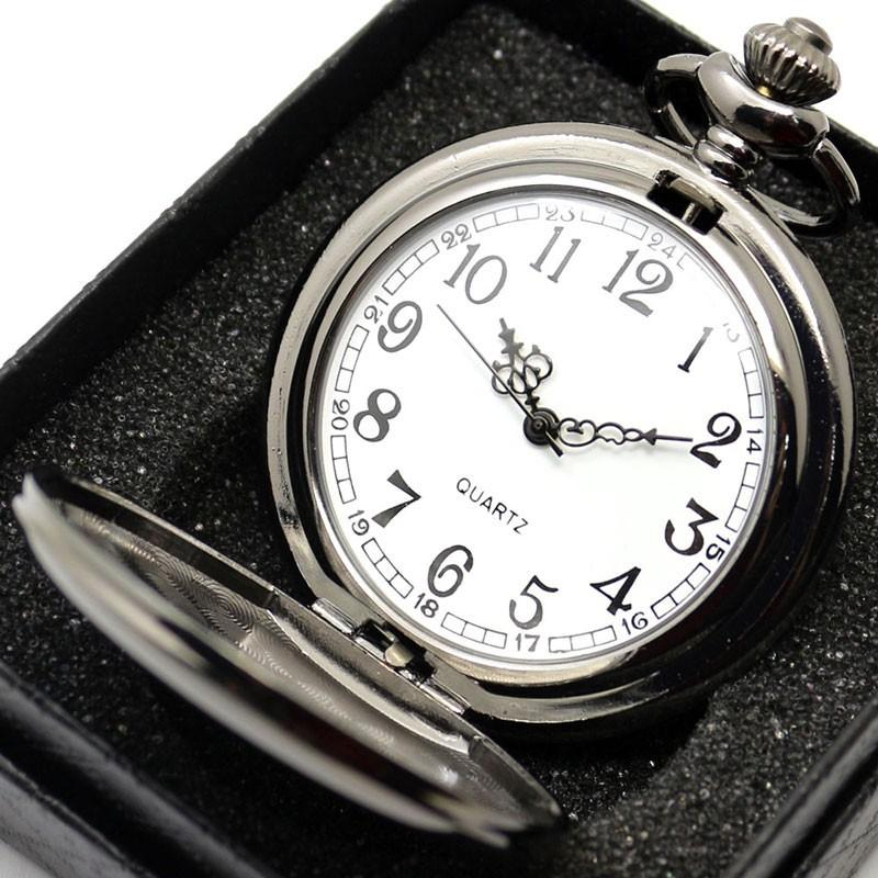 Black Smooth Steampunk Stainless Steel Pocket Watch - Gear Stop Shop