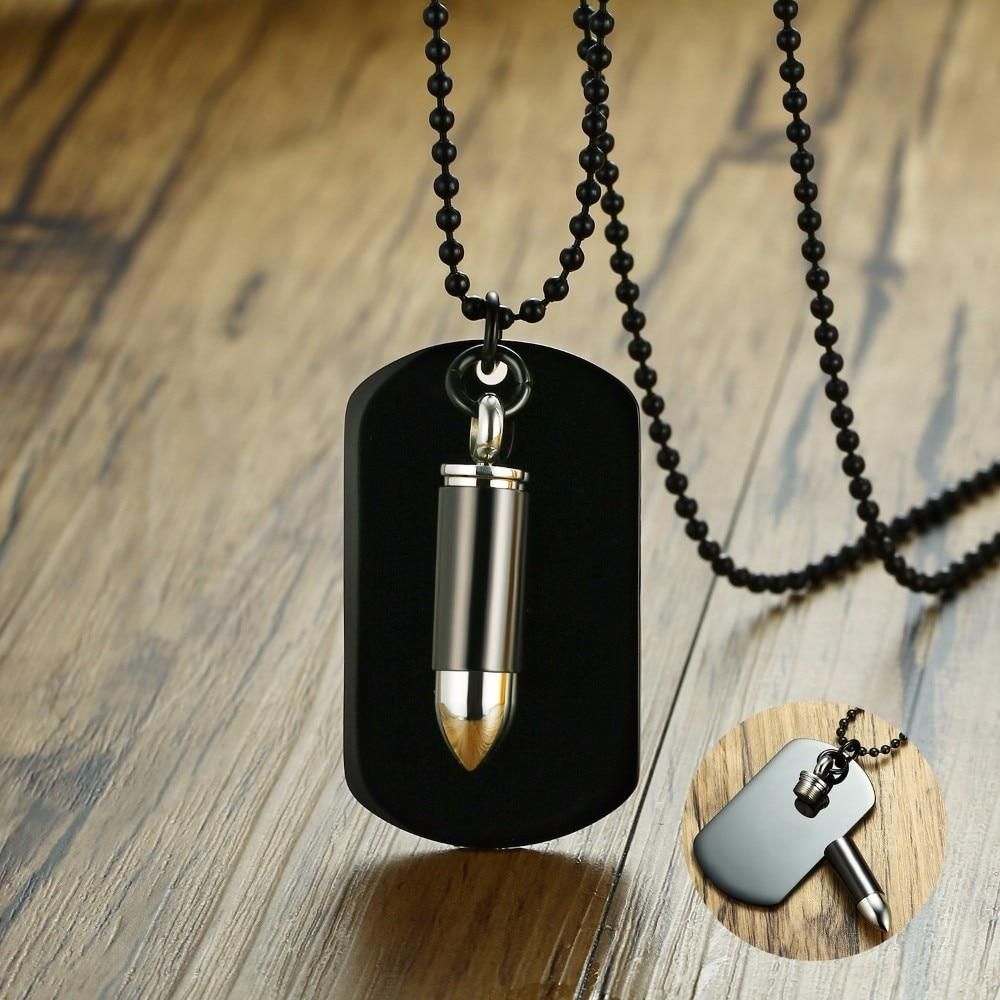 Free Engraving Army Style Bullet Dog Tag Pendant Necklace with Biker Stainless Steel 24 Inch Chain