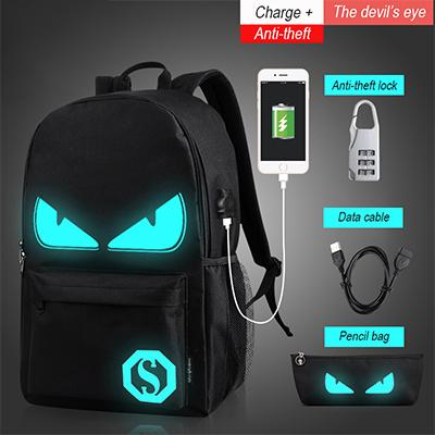 Luminous Animation School Bags USB Charge Computer Anti-theft