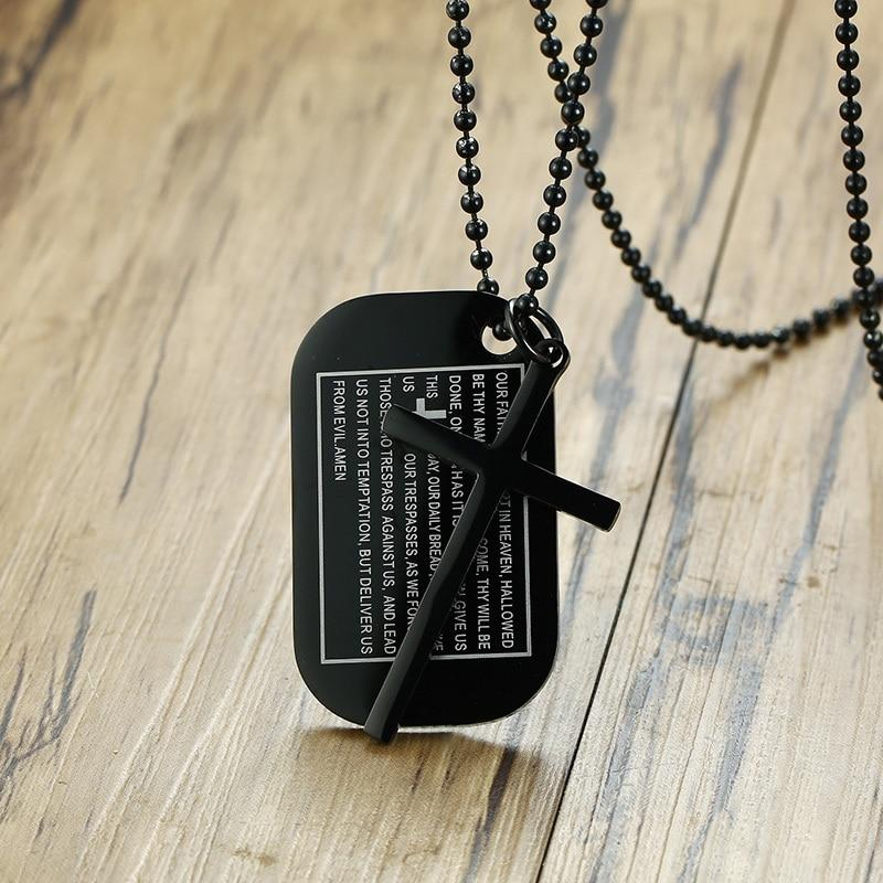 Stainless Steel Our Father The Lord's Prayer Cross Pendant Dog Tag