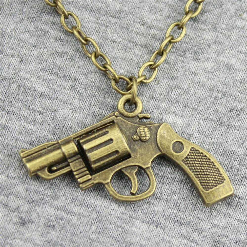 2 Colors 29*22mm Pistol Gun Pendant Necklace - Gear Stop Shop