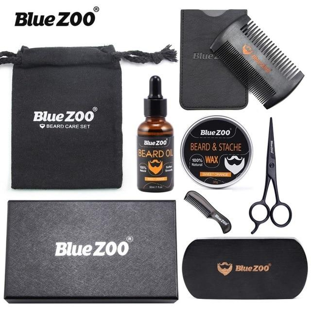 8pcs/set Oil Moisturizing Men Barba Grooming Beard Set Kit - Gear Stop Shop