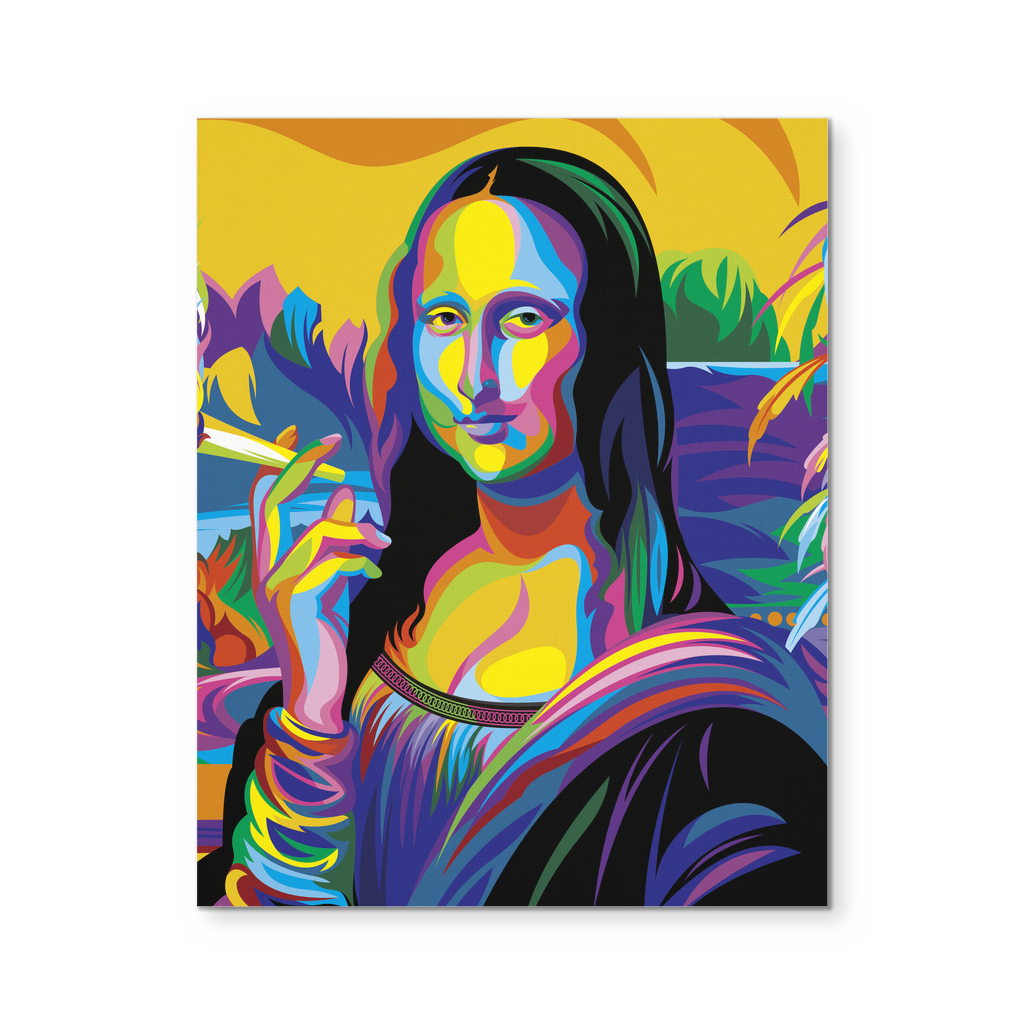 mona lisa smoking colorful art canvas 8x10 - Colorful Art