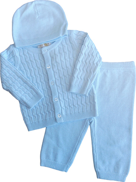 HH0317 - BABY BOYS KNITTED 3 PC SET CARDIGAN, TROUSERS AND HAT (6PCS)