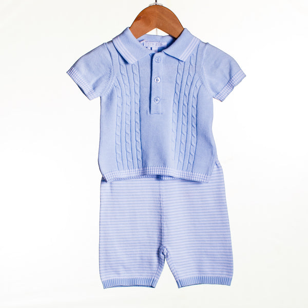 JJ0304 - BABY BOYS KNITTED TOP AND SHORT (6PCS)