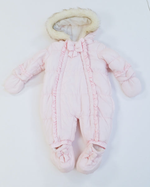 KK0109A -  BABY GIRLS SNOWSUIT WITH FUR TRIM HOOD AND DETACHABLE FEET (3PCS)