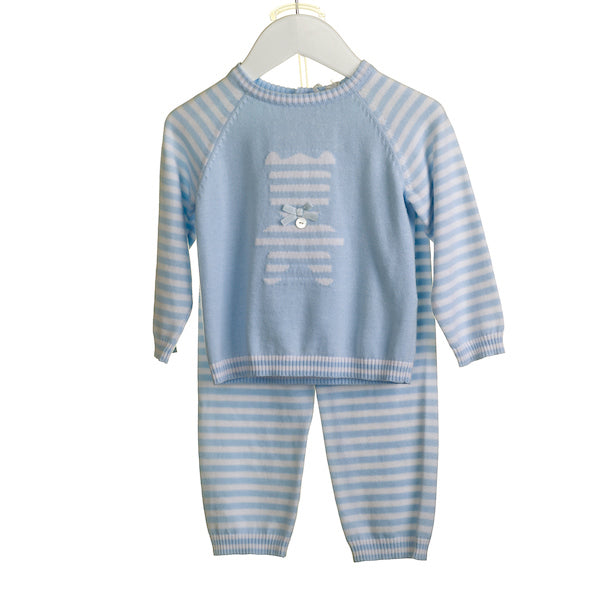 KK0310A - BABY BOYS 2 PC KNITTED JUMPER AND TROUSER SET (6PCS)
