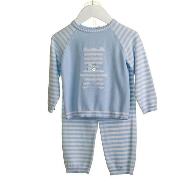 R-KK0310A - BABY BOYS 2 PC KNITTED JUMPER AND TROUSER SET
