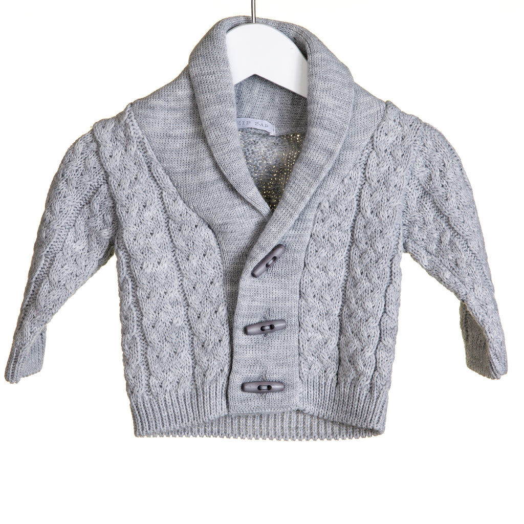 KK0658 Marl - BABY BOYS SHAWL COLLAR CARDIGAN (6 PCS)