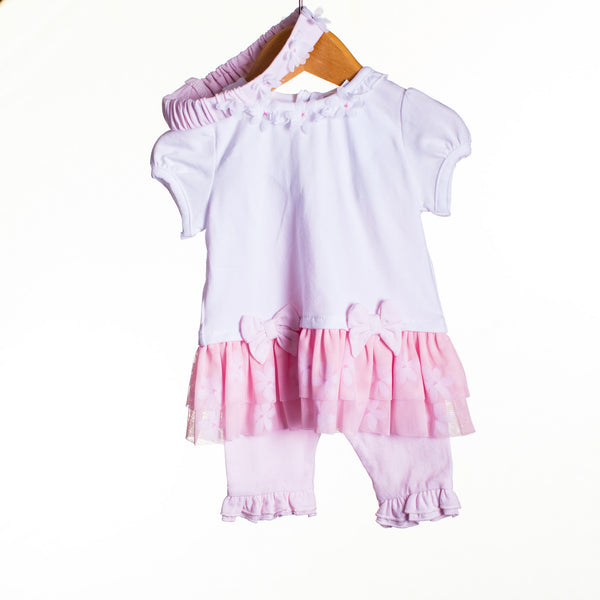 LL0005 -BABY GIRLS DRESS WITH TUTU, LEGGINGS AND HEADBAND (6PCS)