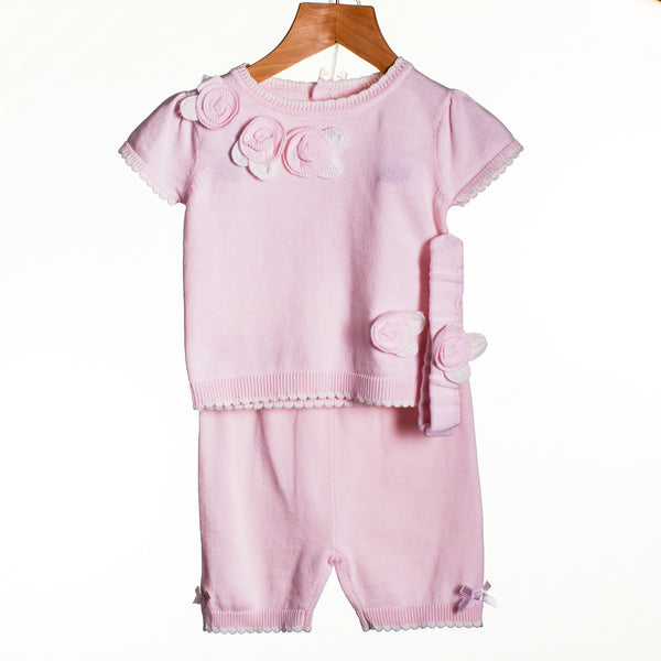 LL0233 - BABY GIRLS KNITTED TOP, TROUSERS AND HEADBAND (6PCS)