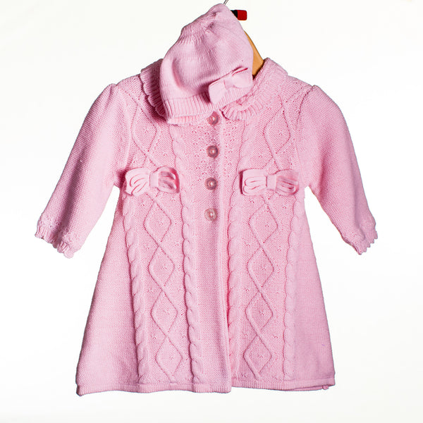 LL0262 - BABY GIRLS KNITTED FROCK COAT WITH HAT (6PCS)