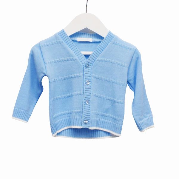 LL0320 - BABY BOYS V NECK CARDIGAN WITH FANCY KNIT DETAIL