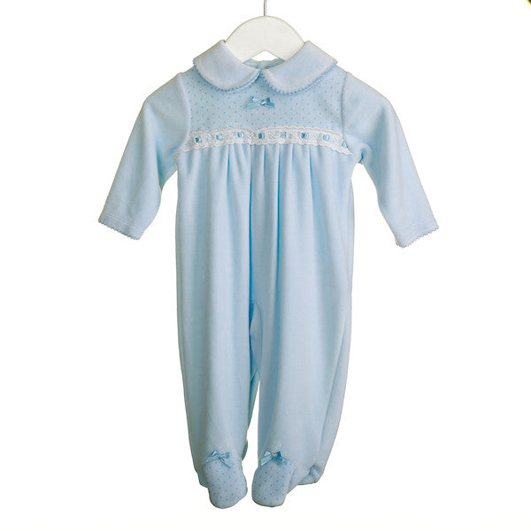 LL0349 - BABY BOYS BLUE VELOUR SLEEPER (6PCS)