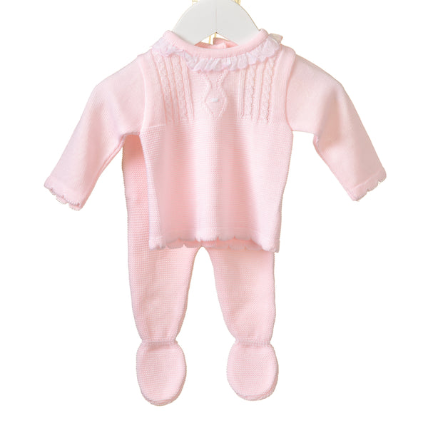 LL0374A - BABY GIRLS PINK KNITTED TOP AND TROUSERS (6PCS)
