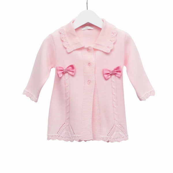 LL0396A - GIRLS LONG LINE CARDI WITH BOWS **25% OFF** (6 PCS)