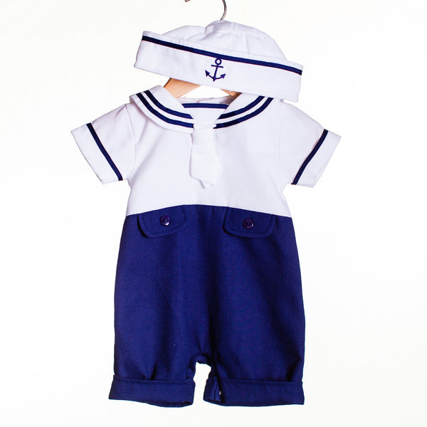 LL0411 - BABY BOYS INTERLOCK SAILOR ROMPER WITH HAT (6PCS)