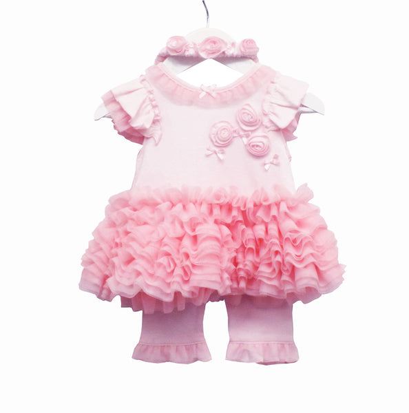 LL0417A - BABY GIRLS DRESS, LEGGINGS AND HEADBAND 12-24M (6PCS)
