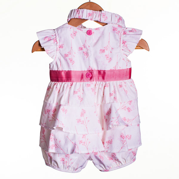 LL0421 - BABY GIRLS WOVEN ROMPER WITH HEADBAND (6PCS)