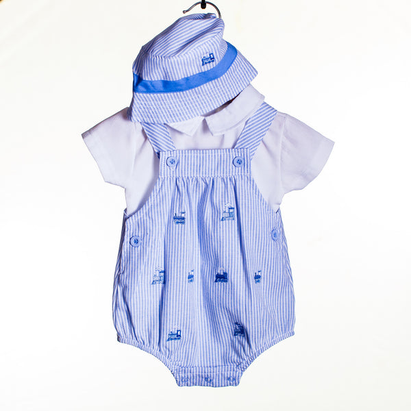 LL0425 - BABY BOYS ROMPER, TOP AND HAT (6PCS)