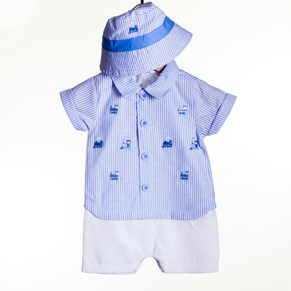 LL0426A - BABY BOYS EMBROIDERED SHIRT, SHORTS AND HAT (6PCS)