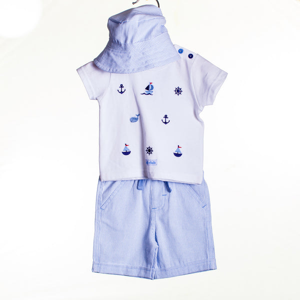 LL0431 - BABY BOYS EMBROIDERED TOP WITH SHORTS AND HAT (6PCS)