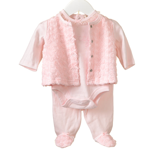 MM0137 - BABY GIRLS 3 PC BODY, LEGGINGS AND CARDIGAN SET (4 PCS)