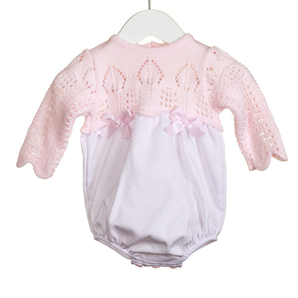 MM0193A - BABY GIRLS PINK KNIT/WOVEN ROMPER (6 PCS)
