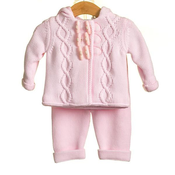 R-MM0208 -BABY GIRLS 2 PC DUFFLE CARDIGAN AND TROUSER SET