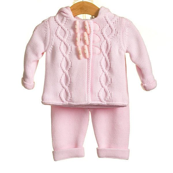 MM0208 - BABY GIRLS 2 PC DUFFLE CARDIGAN AND TROUSER SET (3PCS)
