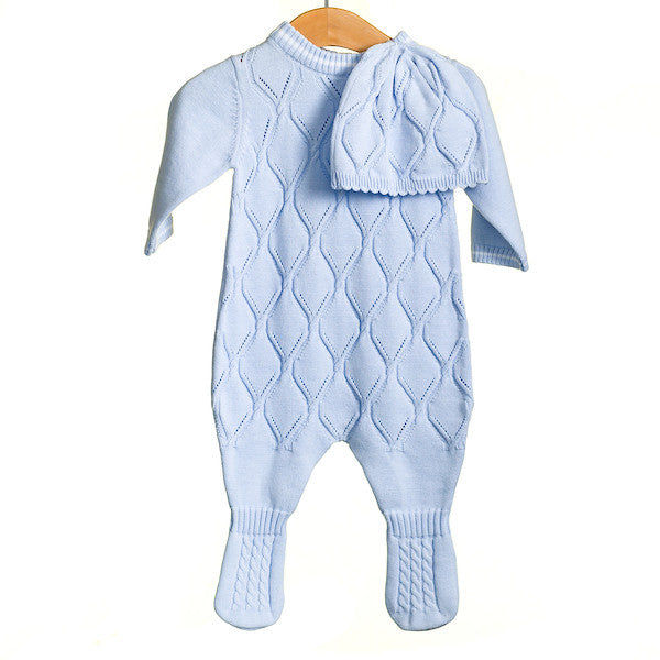 MM0211 - BABY BOYS 2 PC KNITTED ROMPER AND HAT (6PCS)