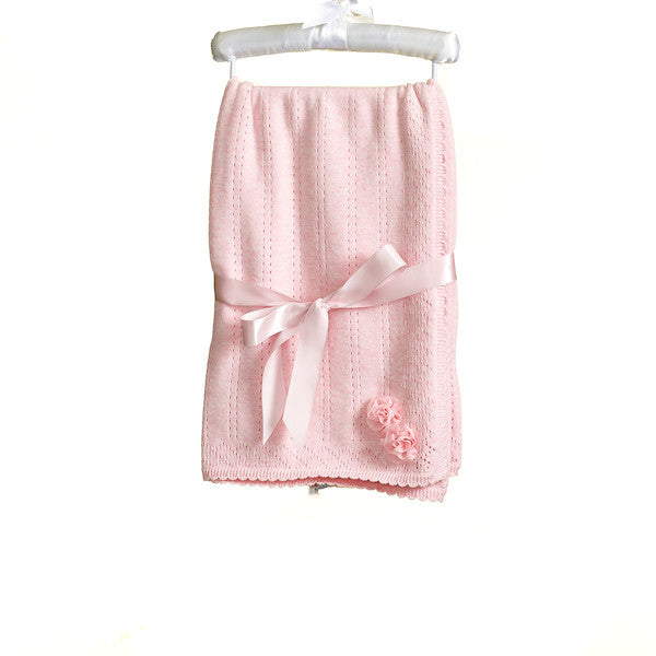 MM0215 - BABY GIRLS PINK MARL KNITTED SHAWL (6 PCS)