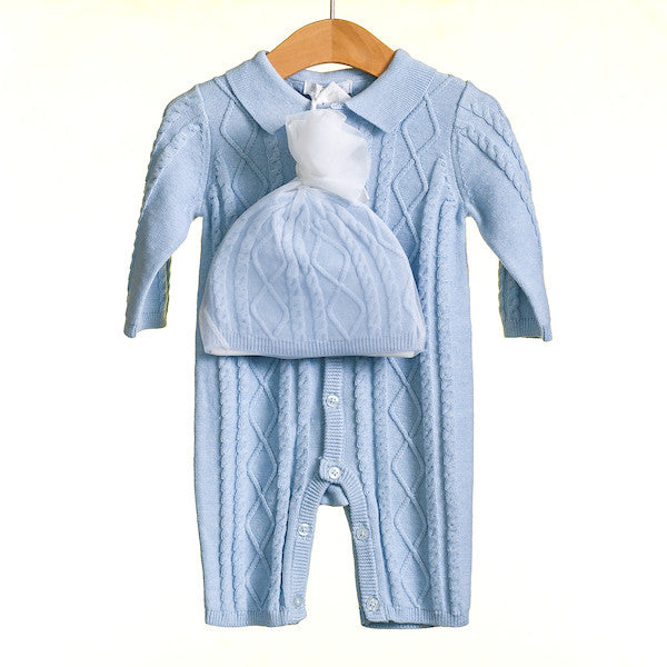 MM0216 - BABY BOYS 2 PC KNITTED ROMPER AND HAT SET (6PCS)