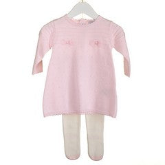 MM0223 - BABY GIRLS PINK KNITTED DRESS AND TIGHTS (6PCS)