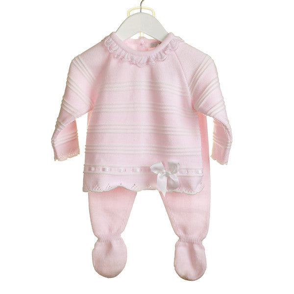 b3dfbde63e46 AW - MM0299A - BABY GIRLS PINK 2 PC KNITTED JUMPER AND TROUSER SET ...