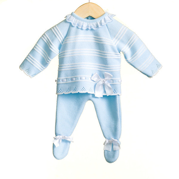 MM0299 - BABY BOYS BLUE 2 PC KNITTED JUMPER AND TROUSER SET (1+9m only) (6 PCS) SALE