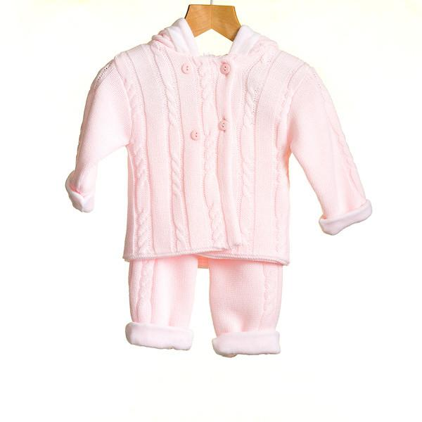 R-MM0321A -BABY GIRLS KNITTED 2 PC SET JACKET AND TROUSERS SET