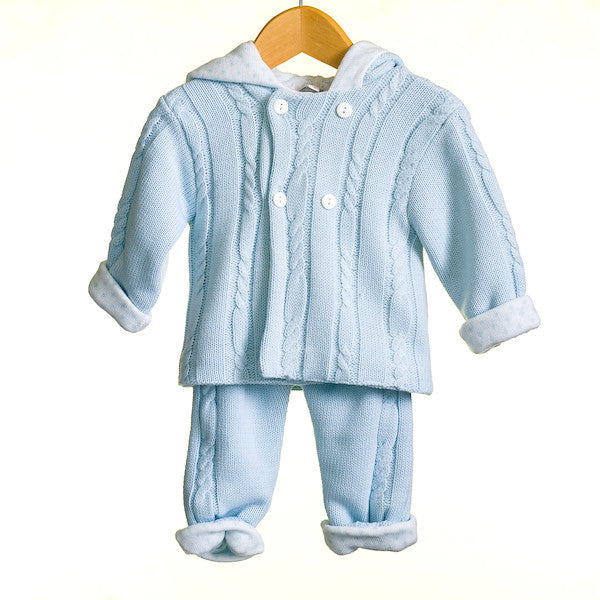 MM0321 - BABY BOYS KNITTED 2 PC SET CARDIGAN AND TROUSERS (6PCS)