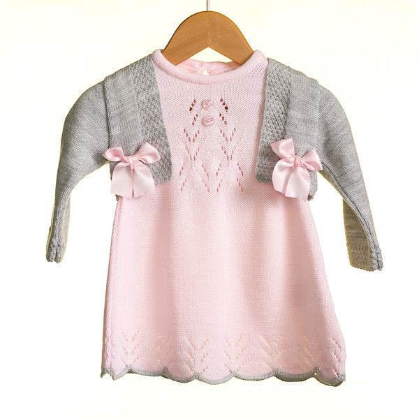AW - MM0325 - BABY GIRLS 2 PC KNITTED DRESS AND CARDIGAN SET (6PCS)