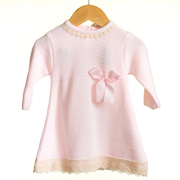 AW - MM0327A - BABY GIRLS KNITTED DRESS WITH RIBBON DETAIL 12-24m (6PCS)