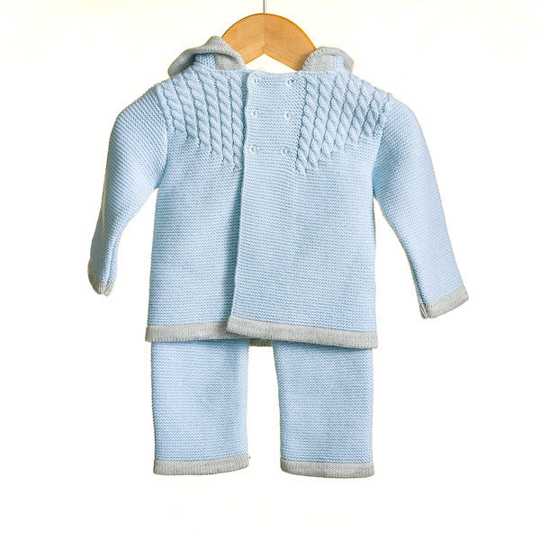 MM0341A - BABY BOYS 2 PC KNITTED JACKET AND TROUSERS SET (6PCS)