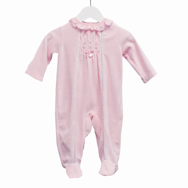 MM0350A - BABY GIRLS PINK VELOUR SLEEPER (6PCS)